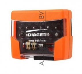 Diager® Torsion bitset geleverd in koffer 19-delig PZ-PH-TX-zeskant set ph-1, ph-2, ph-3, pz-1, pz-2, pz-3, T10, T15, T20, T25, T30, T40, hex-3, hex-4, hex-5 met bithouder quick lock FoxII