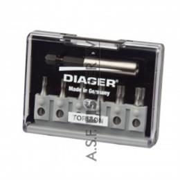Diager® Torsion bitset in koffer 7-delig TX set T-10, T-15, T-20, T25, T30 en T-40 met standaard bithouder
