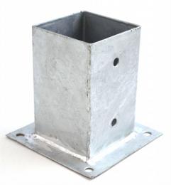 Voetsteunplaat 145 x145 mm thermisch verzinkt. Geschikt voor vierkante palen 140 x 140 mm