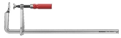 De stalen geleider met profiel is gesmeed uit één stuk en voorzien van een nikkel-hardchromen deklaag en houten handvat. De dunne bek maakt krappe plekken bereikbaar. De vlakke schroefdraad is voorzien van een kantelende drukplaat. De dunne bek maakt krappe plekken bereikbaar. Voorzien van een kantelende drukplaat. Klemkracht tot 670 kg.