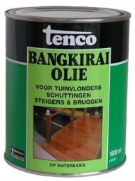 Tenco Bangkiraiolie is speciaal bestemd voor het behandelen van objecten van Bangkirai, zoals tuinvlonders, schuttingen, bruggen enz. Biedt een uitstekende bescherming, dringt diep in het hout, voorkomt vergrijzing en accentueert de houtnerf. Tenco Bangkiraiolie is samengesteld uit hoogwaardige olien geemulgeerd in water, is oplosmiddelvrij dus minder belastend voor het milieu.