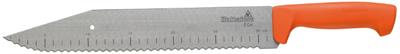 Een mes voor isolatiewol met een 50 mm breed, flexibel lemmet en liniaalverdeling. Met het gekartelde lemmet is het makkelijk door alle soorten isolatiewol te snijden. Greepvriendelijk heft gemaakt van slagbestendig PP plastic. Het lemmet is gemaakt van 50 mm breed carbonstaal. Het gekartelde lemmet maakt het makkelijk door alle soorten isolatiewol te snijden. Zowel het heft als het holster zijn gemaakt van super-duurzaam PP plastic.