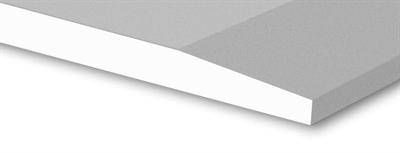 Witte gips plaat met een afgeschuinde langskant, zijn geschikt voor het maken van een plafond of afwerking van de schuine zolderkap. De afgeschuinde kanten worden strak afgewerkt met een pasta. Standaard is opgebouwd uit een gipskern die aan beide zijden en op de langskanten bekleed is met een sterk type papier.