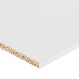 Meubelpanelen worden veelal gebruikt voor meubel- en interieurbouw. Dit meubelpaneel is een tweezijdig gemelamineerde spaanplaat met aan de lange zijde wit afgewerkt melamineband.